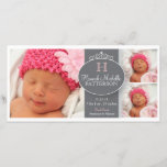 """Pretty Girl Baby 3 Photo Monogram Announcement<br><div class=""""desc"""">Three photos of your beautiful baby girl are featured on this pretty photocard of gray, white and pink by katkadoodle. A decorative band accented with swirls and curls hold your little girl&#39;s initial and name. Birth and family info goes below - all creating a sweet announcement to introduce your new...</div>"""