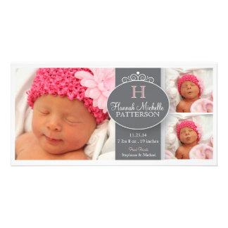 Pretty Girl Baby 3 Photo Monogram Announcement