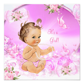 Pretty Girl Baby Shower Pink Butterfly Brunette LT Card