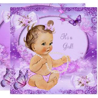 Pretty Girl Baby Shower Purple Butterfly Brunette Card