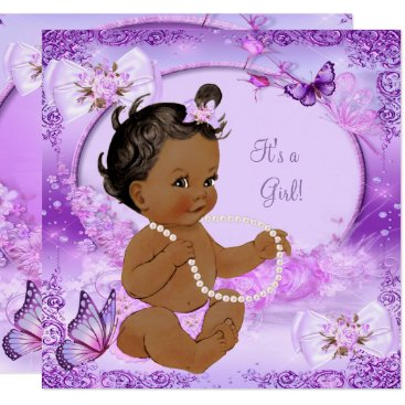 Toddler & Baby themed Pretty Girl Baby Shower Purple Butterfly Ethnic Card