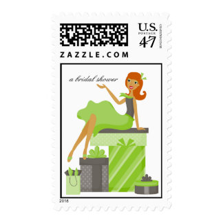 Pretty Girl Bridal Shower Matching Postage
