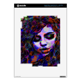 Pretty girl, colorful iPad 3 decals