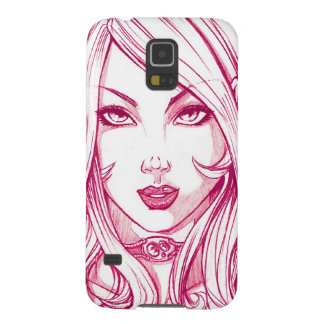 Pretty Girl Face - Pink Galaxy S5 Cover