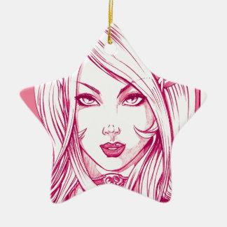 Pretty Girl Face - Pink Ornament