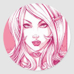 Pretty Girl Face - Pink Round Stickers