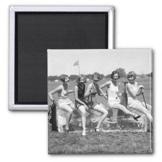 Pretty Girl Golfers, 1920s 2 Inch Square Magnet