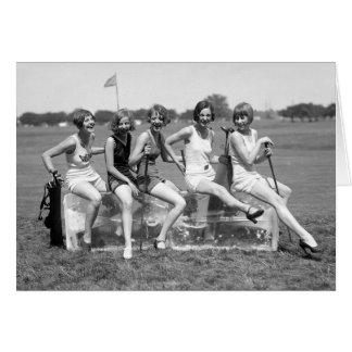 Pretty Girl Golfers, 1920s Card