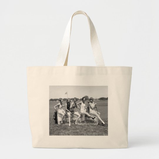 Pretty Girl Golfers, 1920s Large Tote Bag