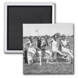Pretty Girl Golfers, 1920s Magnet