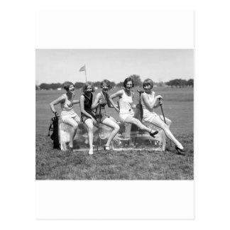 Pretty Girl Golfers, 1920s Postcard