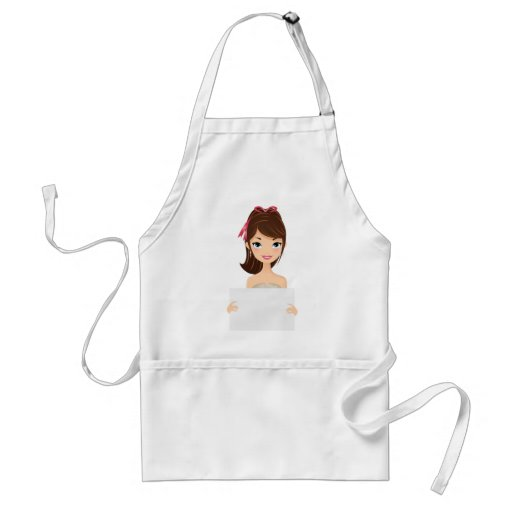 Pretty Girl holding sign Aprons