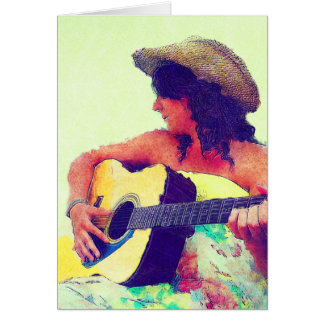 Pretty Girl in Country Hat with Guitar Greeting Card