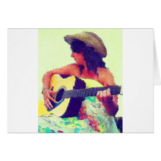 Pretty Girl in Country Hat with Guitar Card