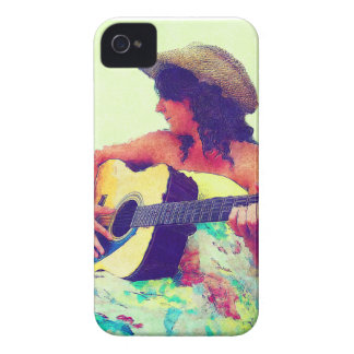 Pretty Girl in Country Hat with Guitar Case-Mate iPhone 4 Case
