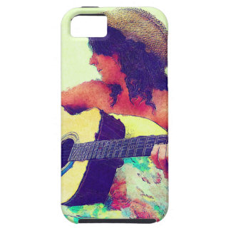 Pretty Girl in Country Hat with Guitar iPhone SE/5/5s Case