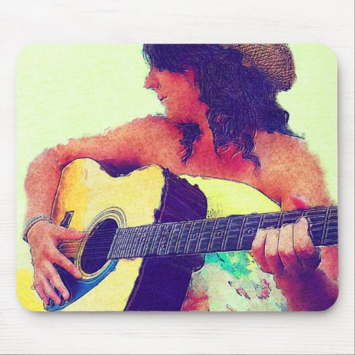 Pretty Girl in Country Hat with Guitar Mouse Pads
