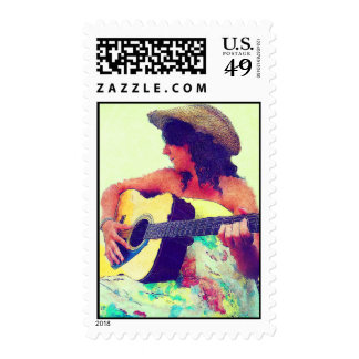 Pretty Girl in Country Hat with Guitar Postage Stamps