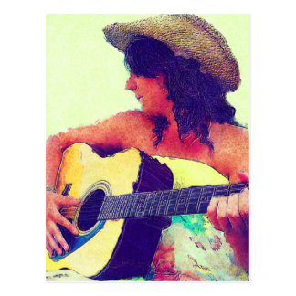 Pretty Girl in Country Hat with Guitar Postcard
