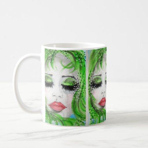 Pretty Girl in Green Classic White Coffee Mug