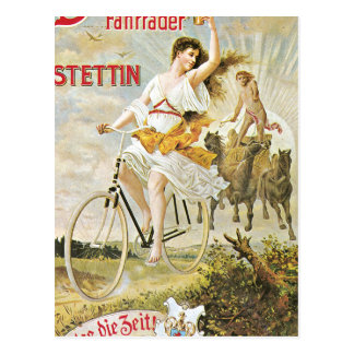 Pretty Girl Riding Vintage Bicycle Postcard