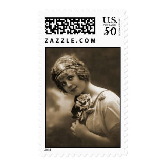 pretty girl with a rose postage