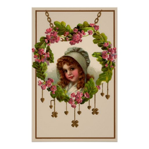 Pretty Girl With Hearts And Clovers Poster