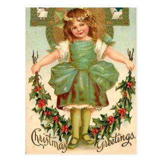 Pretty Girl with Holly - Vintage Christmas Postcard
