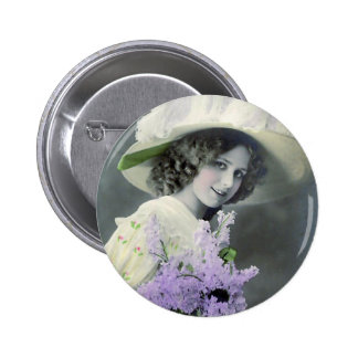 """""""Pretty Girl with Lilac"""" Vintage 2 Inch Round Button"""