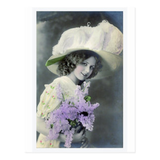 """""""Pretty Girl with Lilac"""" Vintage Postcard"""