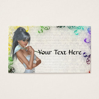 Pretty girl with lily business card