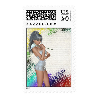 Pretty girl with lily postage