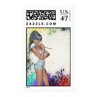 Pretty girl with lily postage stamp