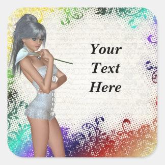 Pretty girl with lily square sticker