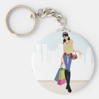 Pretty girls shopping in the city basic round button keychain