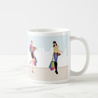 Pretty girls shopping in the city coffee mug