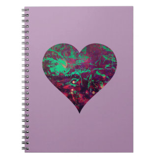 Pretty Girly Abstract Purple and Aqua Heart Spiral Notebook
