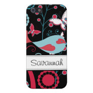 Pretty Girly Birds Flowers Butterflies Pink Black Cases For iPhone 5