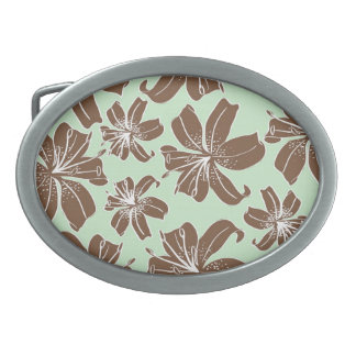 Pretty Girly Brown and Green Flowers Pattern Oval Belt Buckle