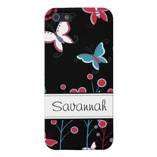 Pretty Girly Butterflies Flowers Pink Blue Black iPhone 5 Cases