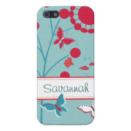 Pretty Girly Butterflies Flowers Pink Blue Cover For iPhone 5