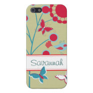 Pretty Girly Butterflies Flowers Pink Blue iPhone 5 Cover