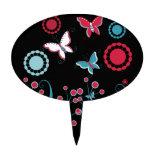 Pretty Girly Butterflies Flowers Pink Blue Pastel Cake Topper