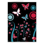 Pretty Girly Butterflies Flowers Pink Blue Pastel Greeting Card