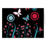 Pretty Girly Butterflies Flowers Pink Blue Pastel Greeting Cards
