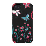 Pretty Girly Butterflies Flowers Pink Blue Pastel Case-Mate iPhone 4 Covers