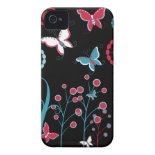 Pretty Girly Butterflies Flowers Pink Blue Pastel iPhone 4 Case
