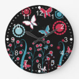 Pretty Girly Butterflies Flowers Pink Blue Pastel Clocks