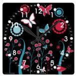 Pretty Girly Butterflies Flowers Pink Blue Pastel Wall Clock