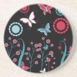 Pretty Girly Butterflies Flowers Pink Blue Pastel Beverage Coasters